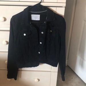 Distressed black jean jacket